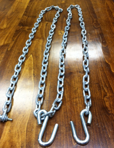 3,000 # and 4,000 # chain with primary/slack hook and clamp.