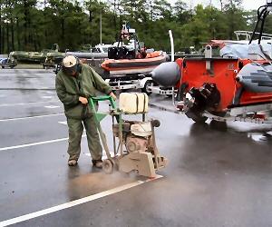 Cutting asphalt.